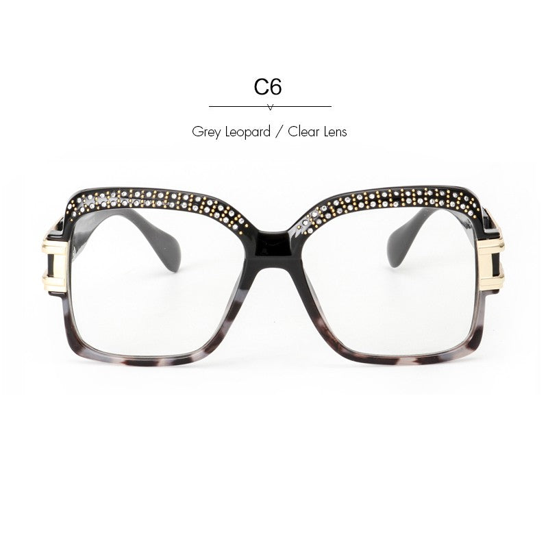 Women's Retro Crystal Forehead Square Sunglasses | The Shade Box