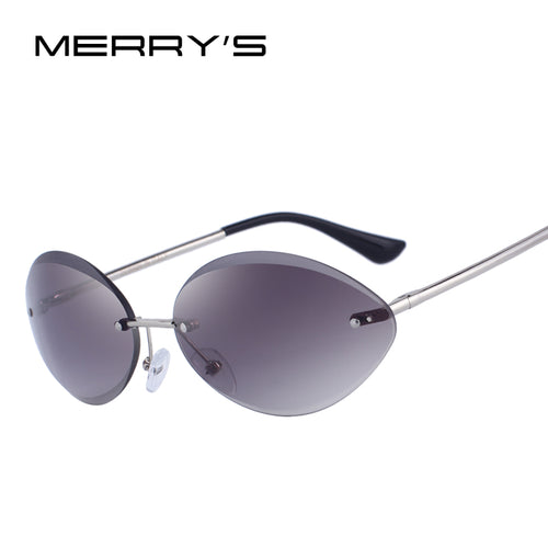Women Rimless Oval  Gradient Lens Sunglasses
