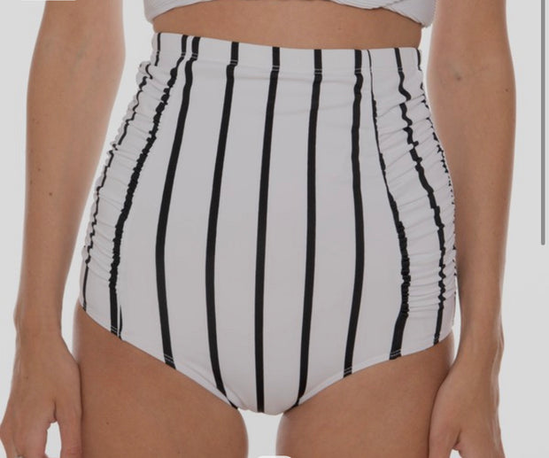White w/ Black Stripes High Waisted Ruched Swim Bottoms