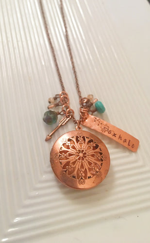 Exhale-diffuser-diffuser jewelry-diffuser locket-diffuser necklace-copper necklace-hand stamped-essential oil diffuser-oil Jewelry