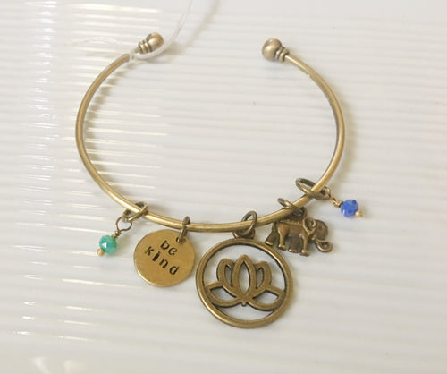 Be Kind-bangle bracelet-lotus flower-elephant charm-hand stamped jewelry-gift for her-hand stamped bracelet
