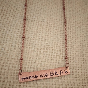 Mama bear-mama bear necklace-bar necklace-hand stamped-copper jewelry-copper necklace-gift for mom