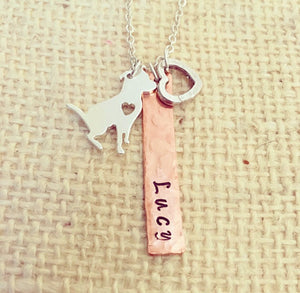Pitbull jewelry-pitbull necklace-pet jewelry-pet necklace-a pitbull rescued me-hand stamped