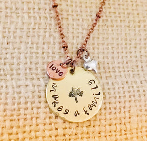 Love makes a family-blended family jewelry-hand stamped-mixed metal-stepmom jewelry-adoption jewelry