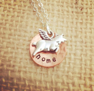 Flying pig-flying pig jewelry-cincinnati necklace-home necklace-copper jewelry-hand stamped
