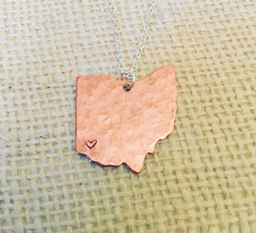 Ohio necklace-cincinnati jewelry-hand stamped-hammered jewelry-cincinnati