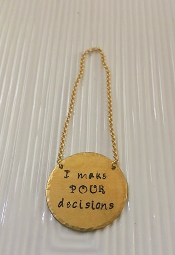 I make Pour decisions-wine bottle tag-hand stamped-hostess gift-Christmas gift-wine gift