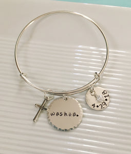 Baptism bracelet-baptism gift-personalized-gift for baptism-handstamped-Bangle bracelet