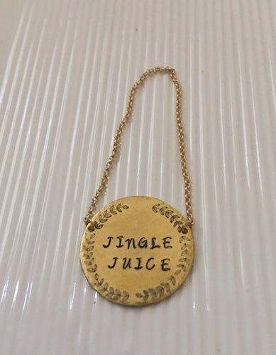 Wine bottle tag-hostess gift-hand stamped-jingle juice-wine gift-gift for wine lover
