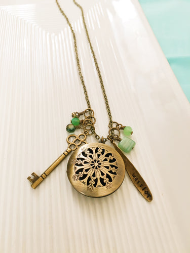Essential Oil Diffuser-Essential Oil Jewelry-Filigree Locket-Antique Brass