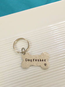 Dogfather-pet keychain-hand stamped-dog keychain-gift for him