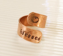 Wrap ring-blessed-copper ring-wrap ring-hand stamped-repurposed jewelry-repurposed ring