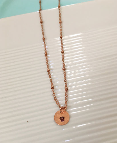 Hand stamped-paw necklace-dog jewelry-copper necklace-dog owner gift-paw jewelry