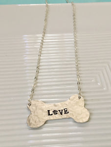 Love-paw jewelry-paw necklace-hand stamped-dog jewelry