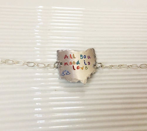 Pride month-pride jewelry-pride gear-all you need is love-Cincinnati pride-Ohio pride-hand stamped-rainbow jewelry