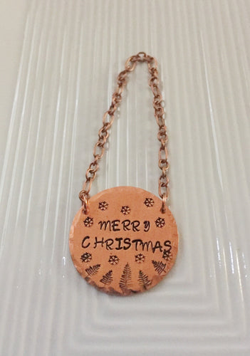 Merry Christmas-hostess gift-wine bottle tag-festive wine-copper