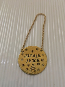 Wine bottle tag-jingle juice-hand stamped-hostess gift-birthday gift-Christmas gift-wine gift