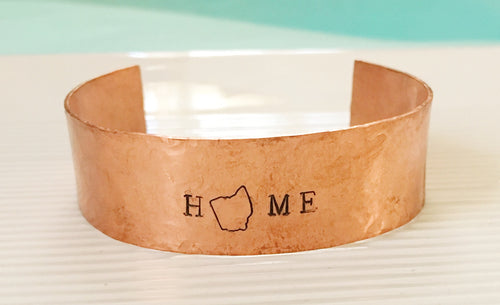 Hand stamped-Ohio jewelry-Ohio bracelet-Ohio cuff-copper cuff-copper jewelry