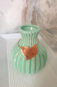 Vase-hand stamped-hammered copper-home decor-quote vase