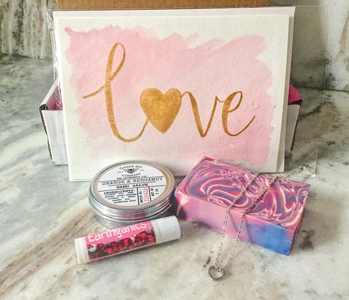 self care gift set-pampering gift-valentine's day gift-heart jewelry-bee hand salve-chapstick-vegan soap-watercolor art