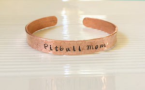 Pitbull mom-cuff bracelet-Pitbull Jewelry-copper cuff-repurposed Jewelry
