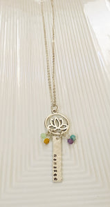 Namaste-lotus jewelry-lotus necklace-czech glass beads-hand stamped