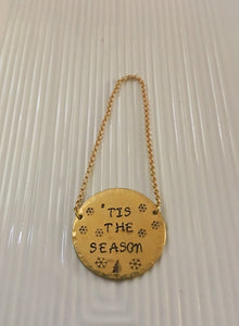 Hostess gift-wine bottle tag-hand stamped-wine gift-tis the season