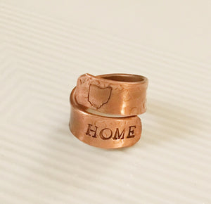 ohio ring-copper jewelry-home jewelry-wrap ring-copper ring-upcycled ring-repurposed jewelry
