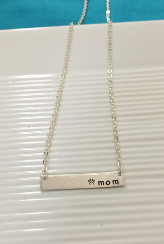 Mom-pet mom-hand stamped-bar necklace-pet jewelry-mother's day gift