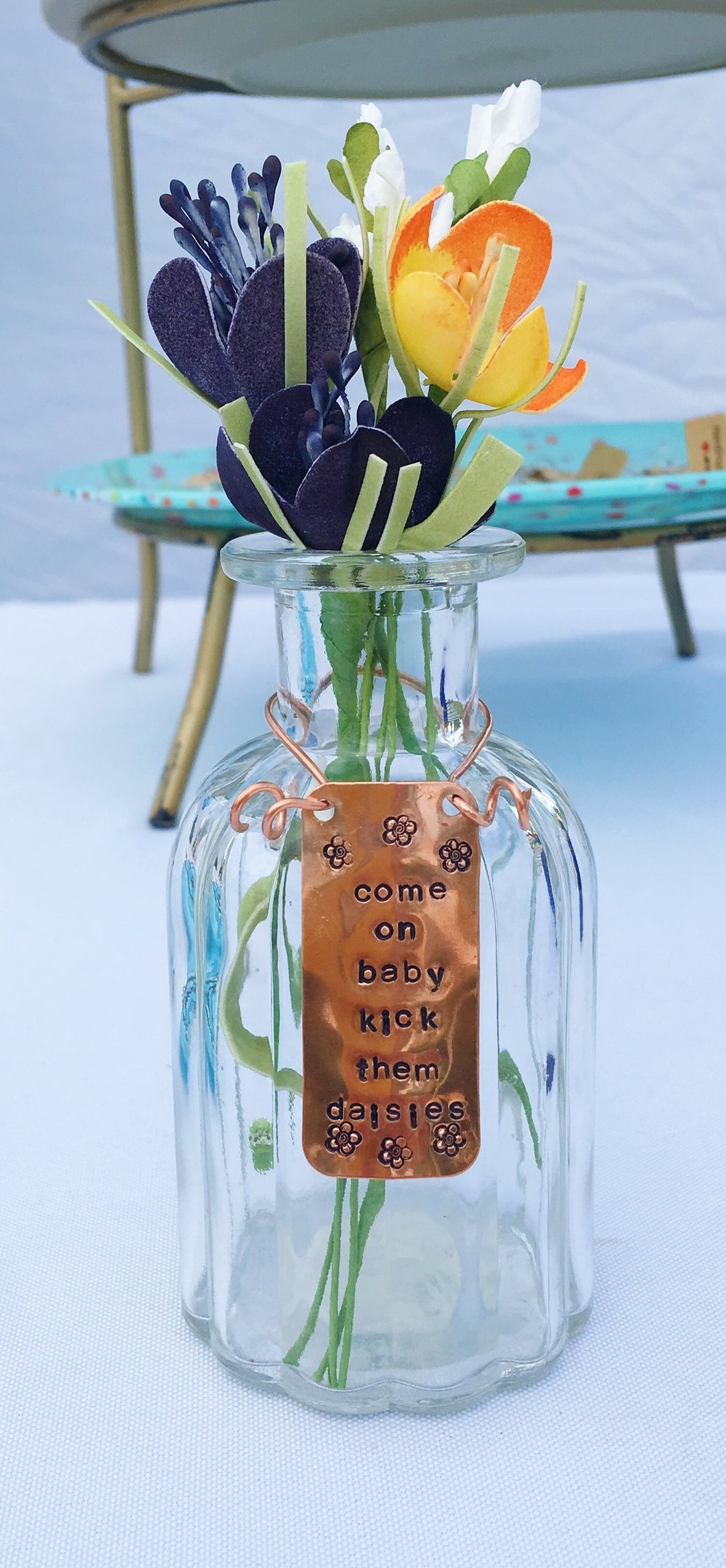 Hand stamped-rap quote-come on baby kick them daisies-quote vase-host gift-flower vase-home decor