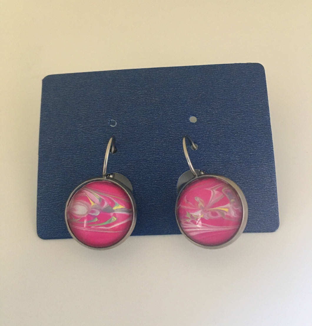 Acrylic pour-acrylic pour jewelry-acrylic pour earrings-stainless steel-pink