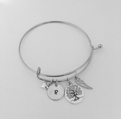Mom bracelet-mom bangle-hand stamped-initial jewelry-initial bracelet-personalized gift-personalized mom jewelry