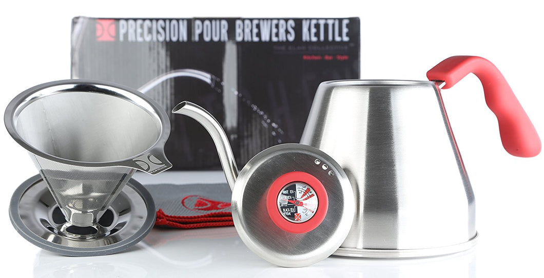 Pour Over Coffee Essentials Brewing Set | Brewers Kettle & Stainless Steel Coffee Brewer