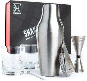 Shake it Down Cocktail Set with 2 Rocks Glasses