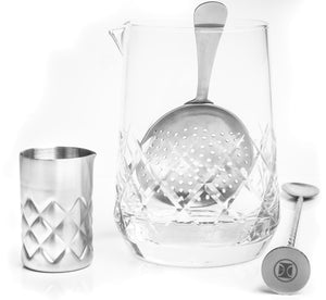 Dealer's Choice 4 Piece Mixing Glass Set, Crystal Lake design
