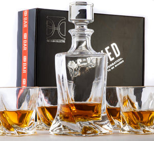 Uncorked - 5 Piece Whiskey Decanter Set, The Charles design