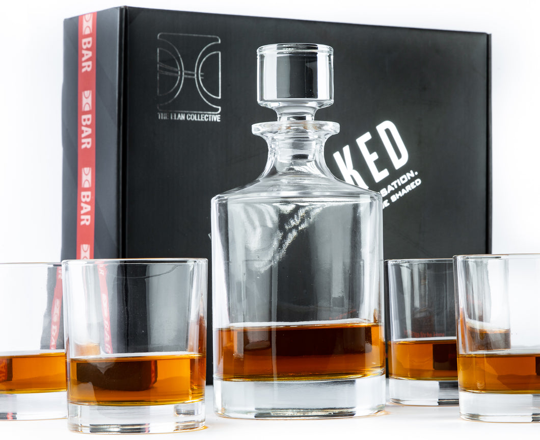Uncorked - 5 Piece Whiskey Decanter Set, The Dale design