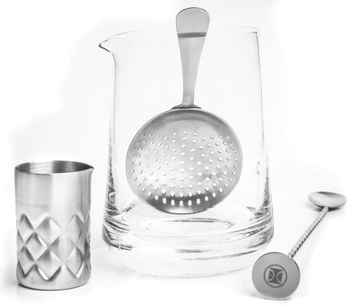 Dealer's Choice 4 Piece Mixing Glass Set, Silver Lake design