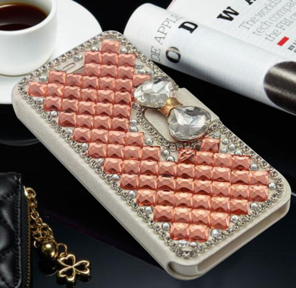 Crystal Diamonds Leather Flip Stand Wallet Case
