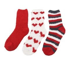 Fuzzy Heart and Striped Socks - 3 Pair Assortments