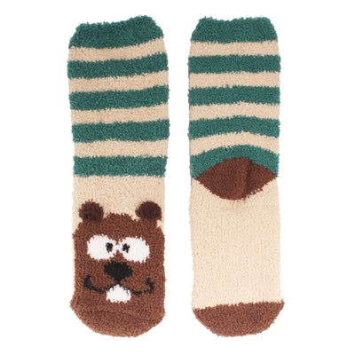 Animal Cuff Fuzzy Socks - Beaver