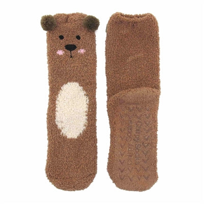 Animal Cuff Non-Slip Fuzzy Socks - Brown Bear