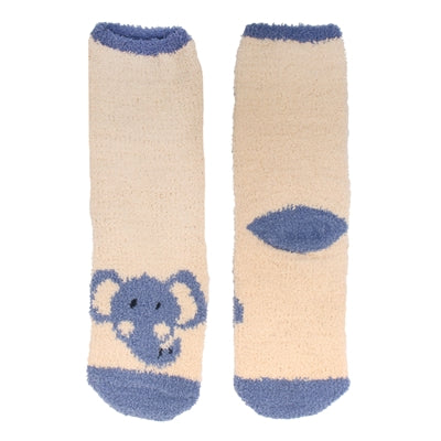 Animal Cuff Fuzzy Socks - Elephant