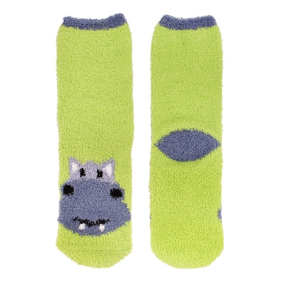 Animal Cuff Fuzzy Socks - Hippo