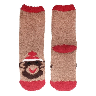 Animal Cuff Fuzzy Socks - Monkey