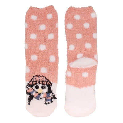 Animal Cuff Fuzzy Socks - Penguin