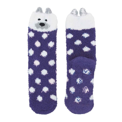 Animal Cuff Non-Slip Fuzzy Socks - Polar Bear