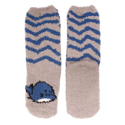 Animal Cuff Fuzzy Socks - Whale