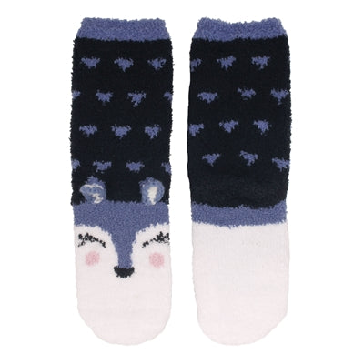 Animal Cuff Fuzzy Socks - Wolf