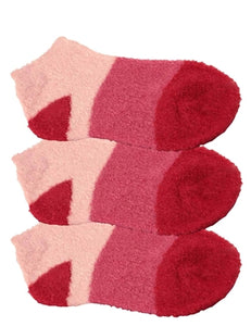 Three pairs of red aloe infused ankle socks. The socks feature a design with three various shades of the same color, with darker areas at the toe and heel areas.